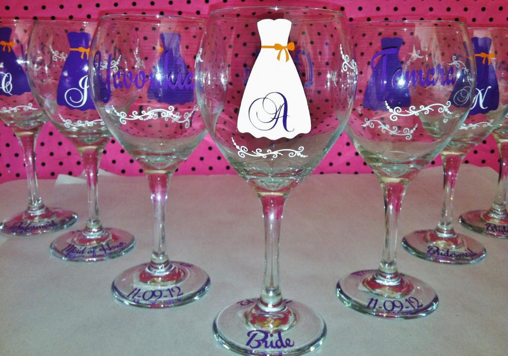 personalized wedding dress wine glasses set of 6 personalized wedding ...